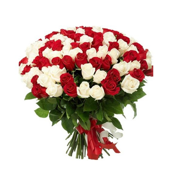 101 red and white roses delivery in yerevan is free. Black Bedroom Furniture Sets. Home Design Ideas