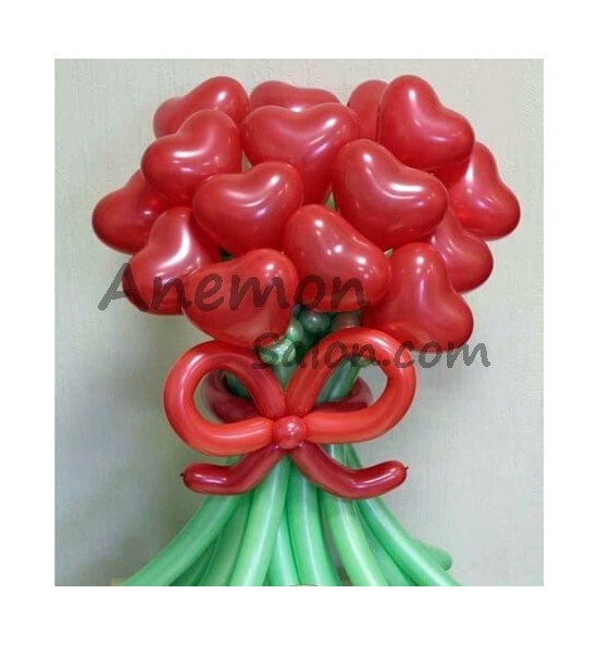 5 flower balloons bouquet