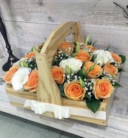 Roses in Wooden Basket