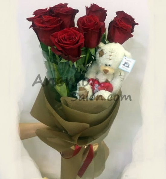 9 Roses Small Teddy