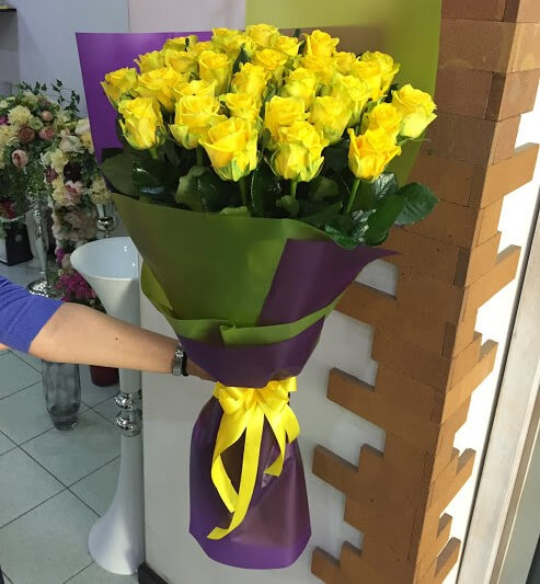 25 Yellow Roses Gift Wrapped