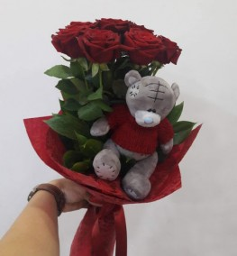 7 Roses Small Teddy